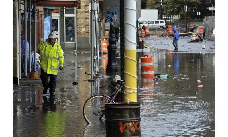 Manhattan's South Street Seaport area, seen a day after it was flooded during Hurricane Sandy in 2012