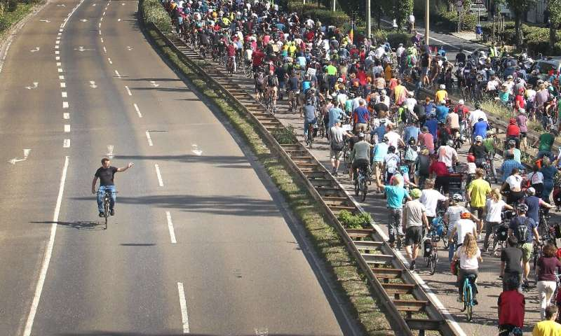 Many of the protesters made their way into Frankfurt on foot or on bicycles