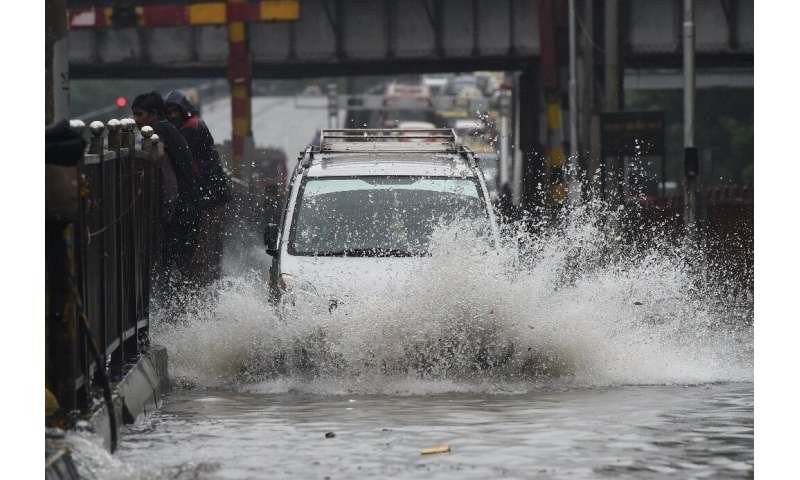 Many streets in India's financial hub of Mumbai were flooded by the mnonsoon downpour