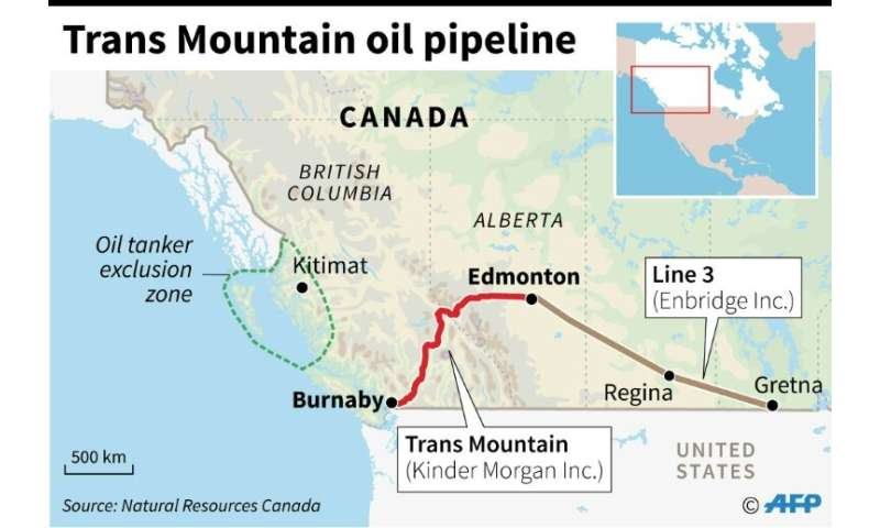 Map of Canada showing the controversial Trans Mountain oil pipeline