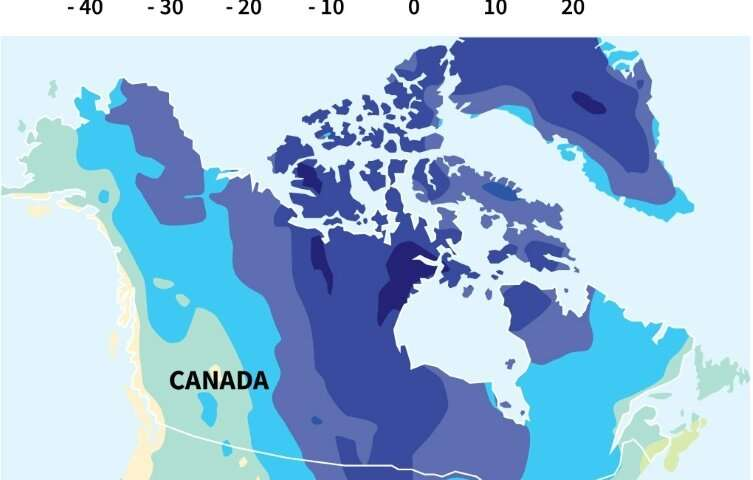 Map of North America showing the temperature forecast for Wednesday, January 29, 2019—when an artic chill will descend on a larg