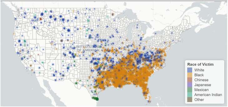 Map reveals that lynching extended far beyond the deep South