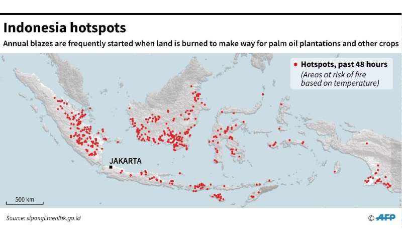 Map showing Indonesia where areas at risks of fires has soared as hotspots showed Tuesday
