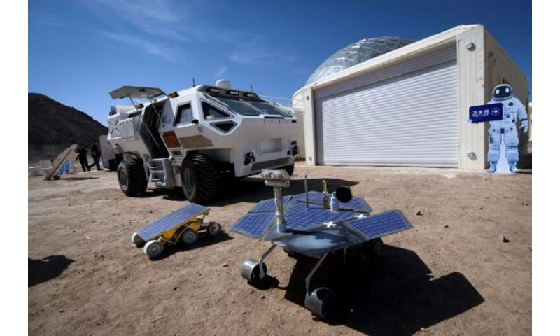"Models of Mars rovers are seen at ""Mars Base 1"", in China's northwest Gansu province"