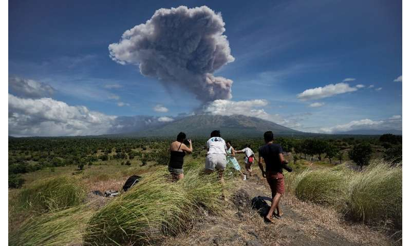 Mount Agung is about 70 kilometres from the tourist hub of Kuta