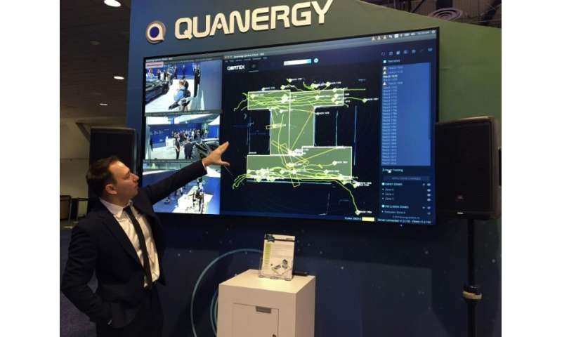 Murat Atalay of California-based Quanergy shows a display of technology based on systems from autonomous cars that could be used
