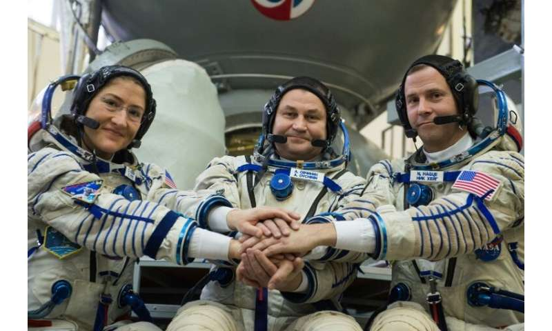 NASA astronauts Christina Hammock Koch and Nick Hague and Russian cosmonaut Alexey Ovchinin are set to blast off for the ISS on