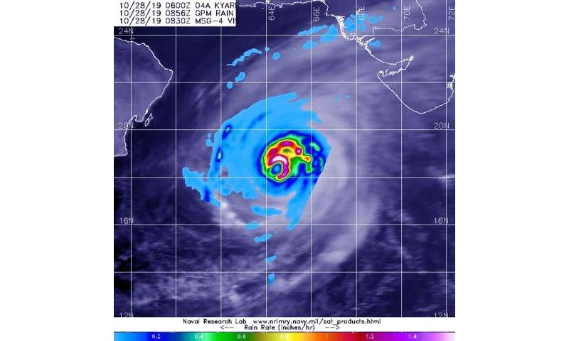 NASA finds Arabian sea tropical cyclone Kyarr's heavy rainfall
