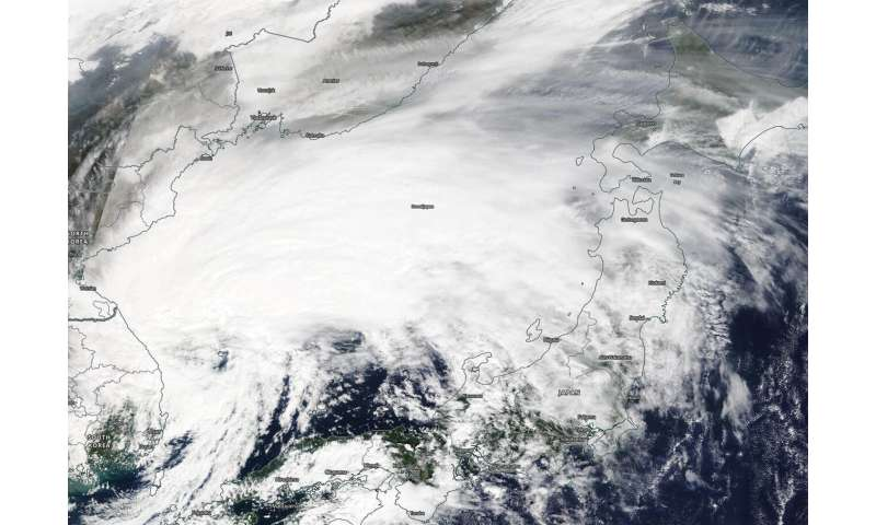 NASA finds a transitioning cyclone Mitag filling the sea of Japan