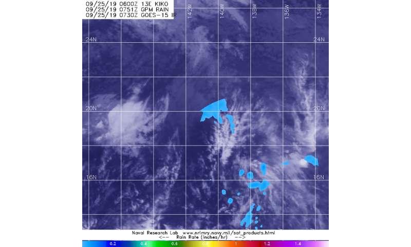 NASA finds light rain in former hurricane Kiko's remnants