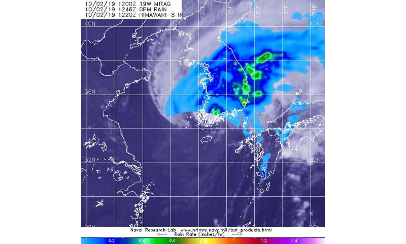 NASA finds Mitag's areas of heavy rainfall over Korean Peninsula