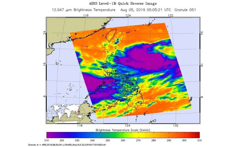 NASA gazes into Tropical Storm Lekima in Philippine Sea