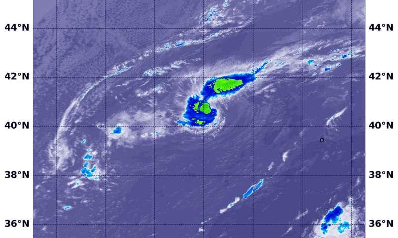 NASA gets infrared view of Atlantic Halloween subtropical storm