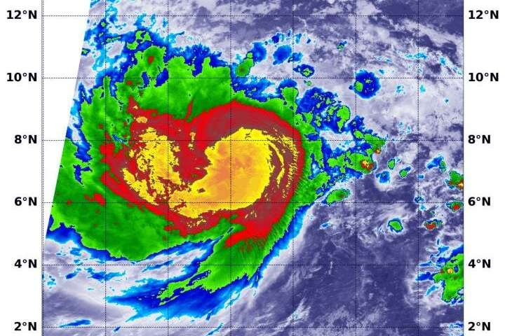 NASA infrared image shows powerful center of Typhoon Wutip
