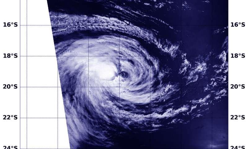 NASA's Aqua satellite shows winds shear affecting Tropical Cyclone Riley