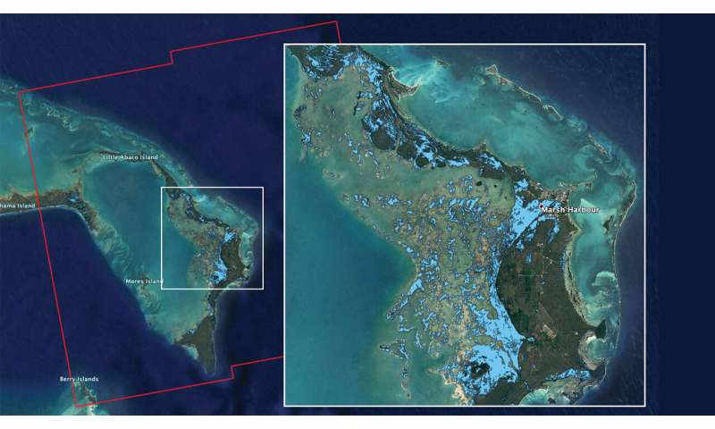 NASA's ARIA team maps flooding in the Bahamas