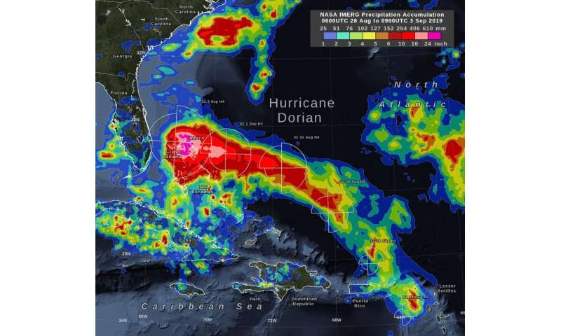 NASA's IMERG estimates hurricane Dorian's rain