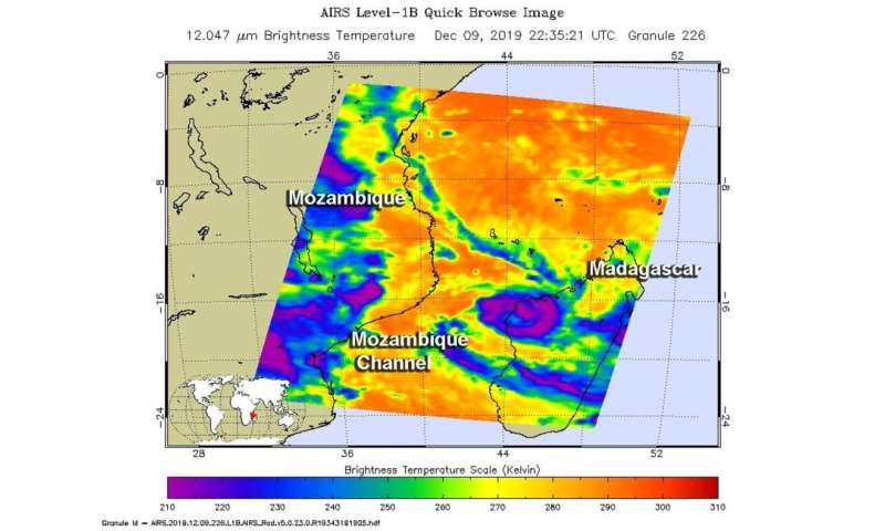 NASA's temp check on Tropical Storm Belna finds heavy rainfall potential