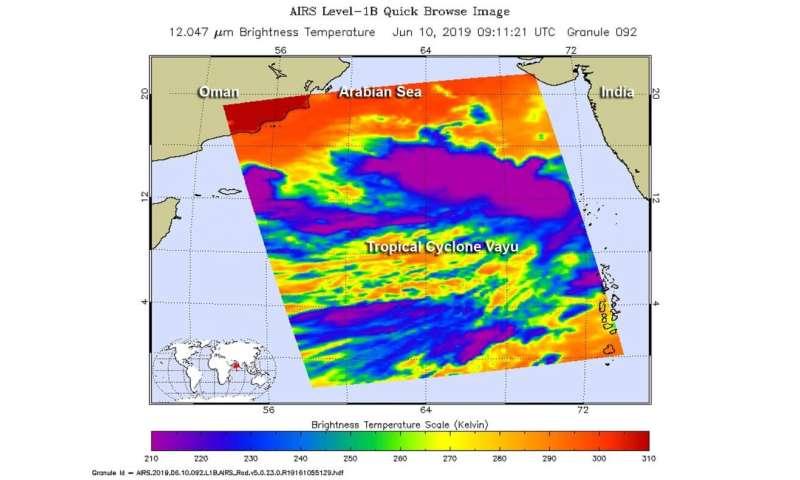 NASA takes Tropical Cyclone's Vayu's temperature