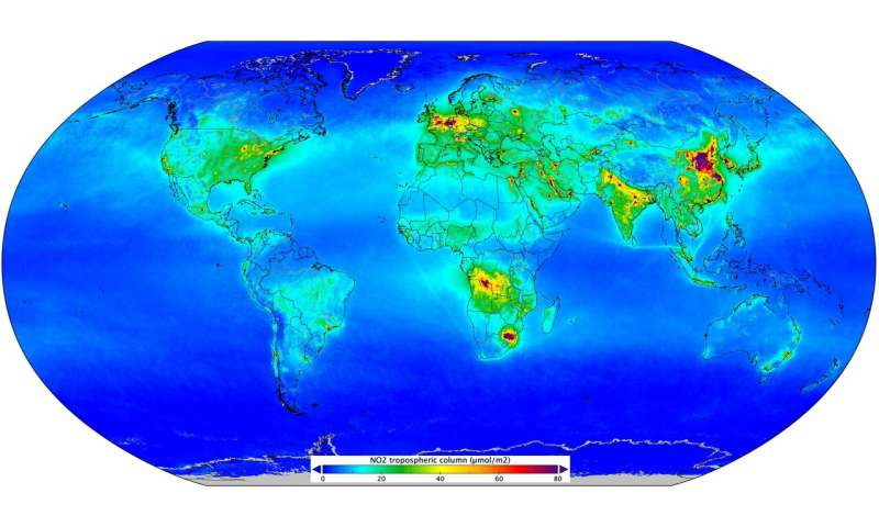 Nitrogen dioxide pollution mapped