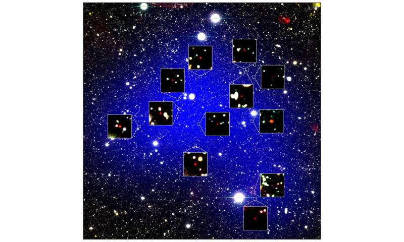 Oldest galaxy protocluster forms 'queen's court'