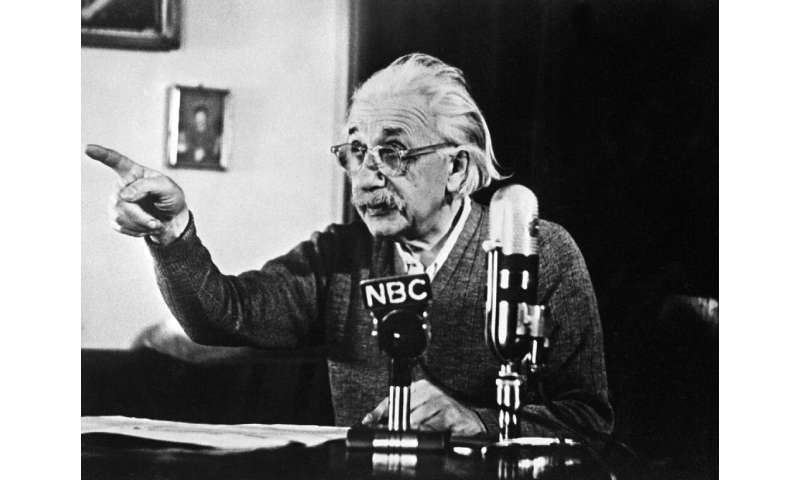 "Physicist Albert Einstein declared his opposition to the ""H"" bomb and to the arms race between the US and USSR in 1950"