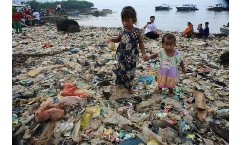 Plastic garbage at Lampung Bay, on the southern tip of the Indonesian island of Sumatra