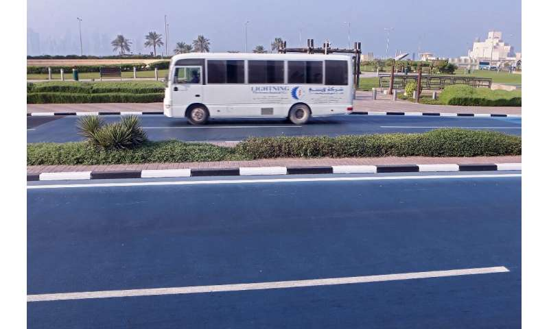 Qatar hopes that the blue heat-reflective road coating will help reduce heat in the area