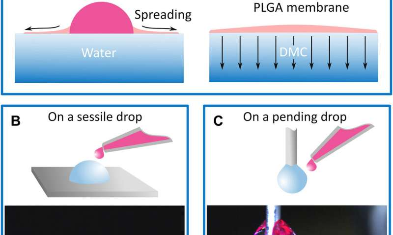 Quick liquid packaging: encasing water silhouettes in 3D polymer membranes for lab-in-a-drop experiments