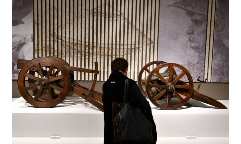 "Reproductions of Leonardo da Vinci's ""Multi-barrelled cannon"" are among the displays"