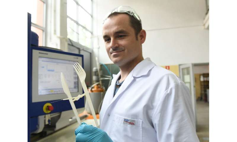 Researcher Maciej Sienkiewicz works at the chemistry department of the Gdansk University of Technology that has produced biodegr