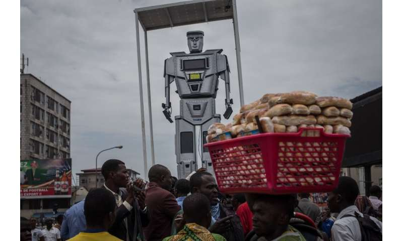 Robot cop: In 2015, the Kinshasa authorities installed three giant figures, equipped with lights and camera monitors, to try to