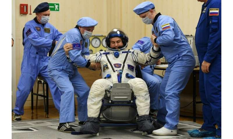 Russian cosmonaut Alexey Ovchinin's spacesuit was tested before the launch