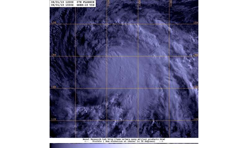 Satellite shows Tropical Storm Flossie holding up