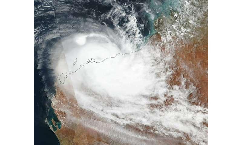 Satellite tracks Tropical Cyclone Veronica along Australia coast