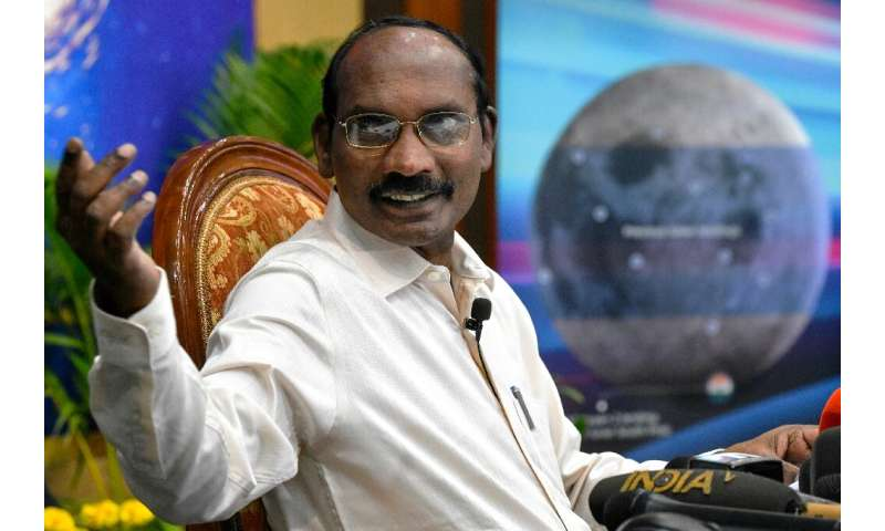 Scientist Kailasavadivoo Sivan gestures during a press conference where he unveiled deails of the country's moon-landing project