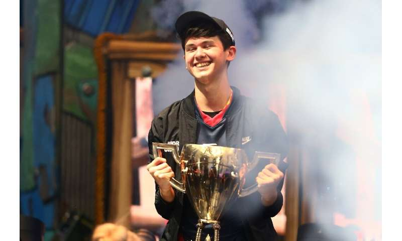 "Sixteen-year-old Kyle ""Bugha"" Giersdorf is seen celebrating on July 28, 2019, after winning the Fortnite World Cup sol"