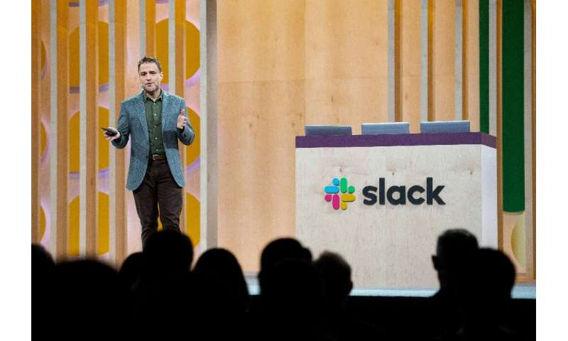 Slack CEO Stewart Butterfield speaks at his company's Frontiers conference in San Francisco ahead of the workplace collaboration