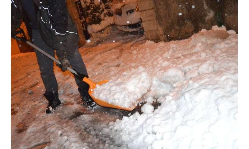 Snow blanketed wide swathes of southeast France, including Saint-Jean Bonnefonds, near Saint-Etienne.