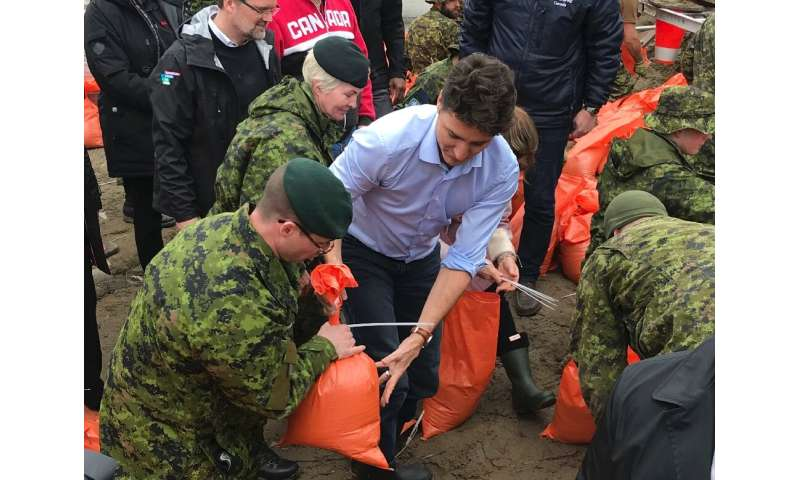 Soldiers have been helping fill sandbags and  even Prime Minister Justin Trudeau and his wife Sophie dropped by to assist