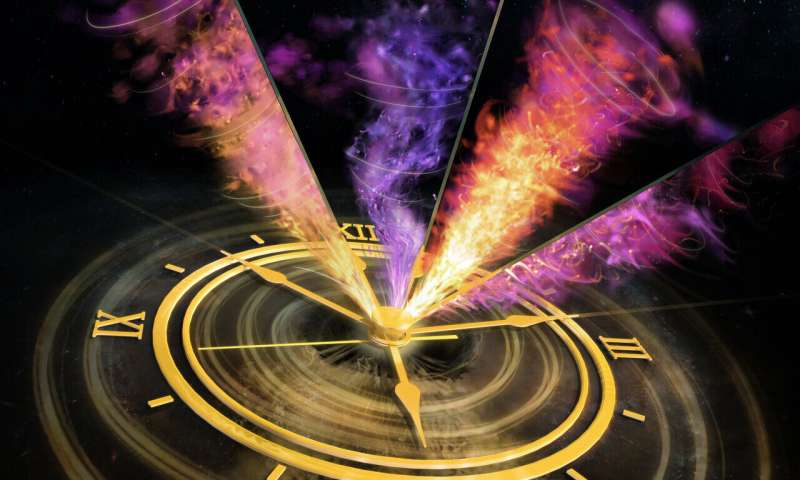Spinning black hole sprays light-speed plasma clouds into space