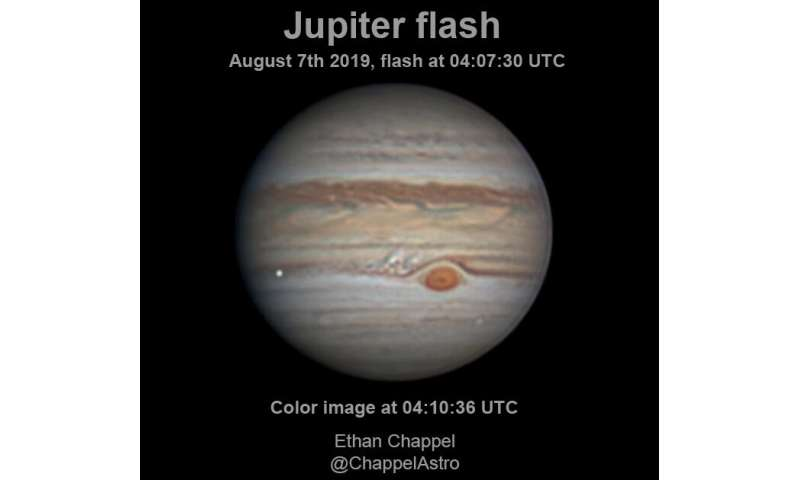 Stony-iron meteor caused August impact flash at Jupiter