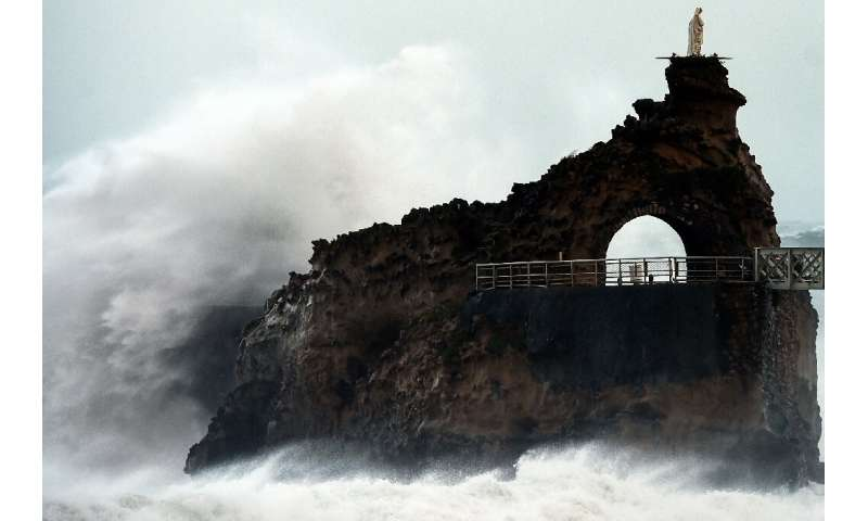 Storm winds blasted southwest France on Sunday, here at the Rocher de La Vierge near Biarritz