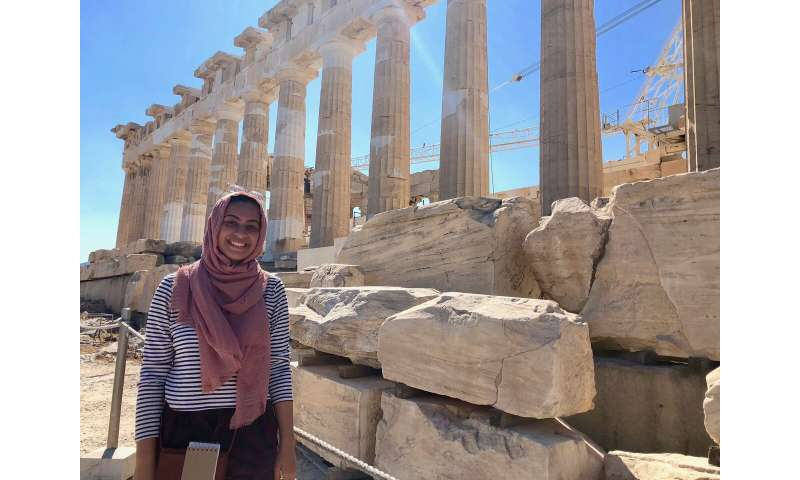 Studying ancient architectural artifacts in Greece