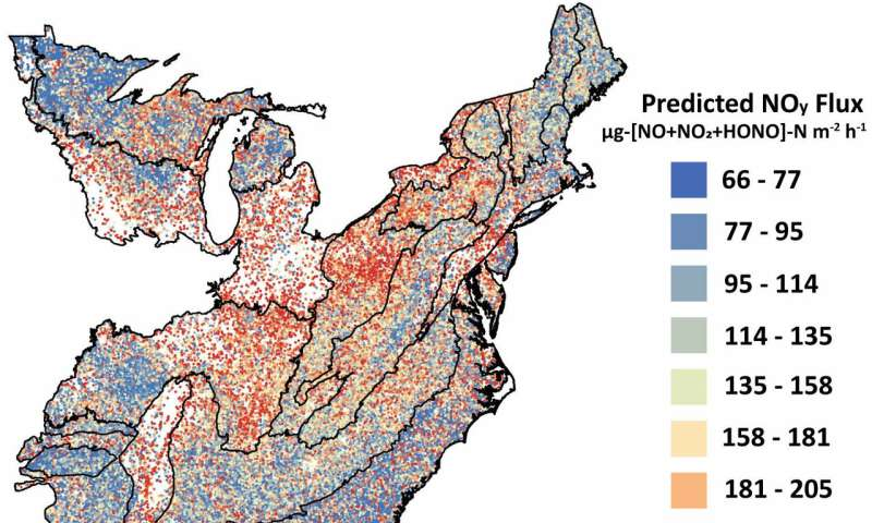Study predicts how air pollutants from US forest soils will increase with climate change