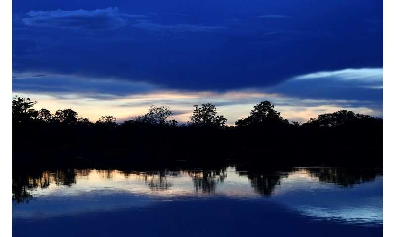 Sunset on the Mamiraua River at the Mamiraua Reserve, Brazil's largest protected area, in Amazonas State: scientists are now eav