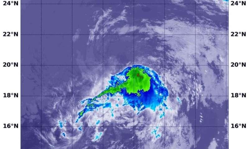 Suomi NPP satellite sees Tropical Depression Dalila fading