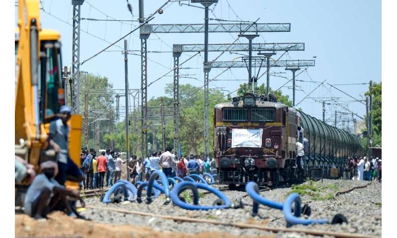 The 50 wagons were filled with 2.5 million litres of water, destined for Chennai