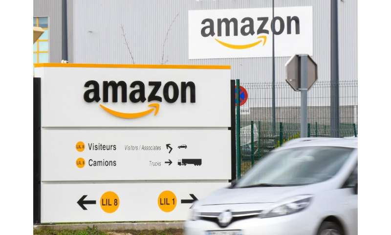 The Amazon logo at one of the e-commerce company's logistics centers in France