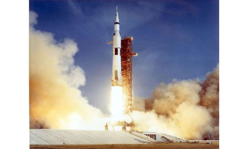 The Apollo 11 Saturn V space vehicle lifts off on July 16, 1969 with astronauts Neil Armstrong, Michael Collins, and Edwin &quot